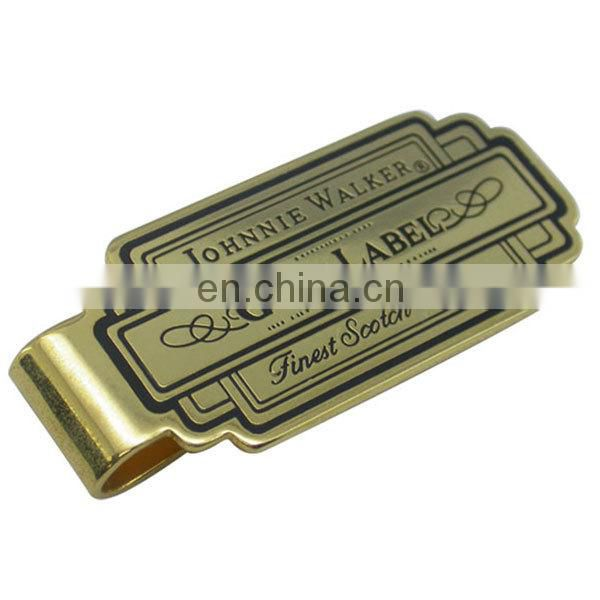 cool stainless steel gold plating Money clip Laser Engraved Cash Clip
