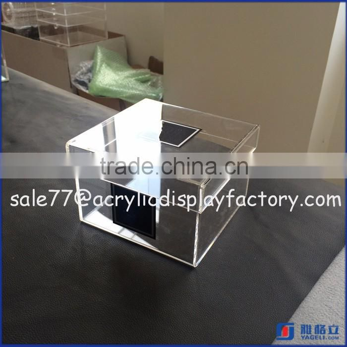 square acrylic box for flower packing, newest design cube box, custom made clear acrylic