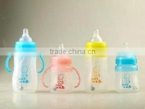 FDA approved soft silicone baby feeding bottles with spoon