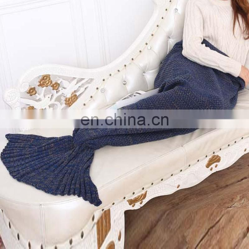 Navy wholesale mermaid tail blanket crochet mermaid blanket for leisure