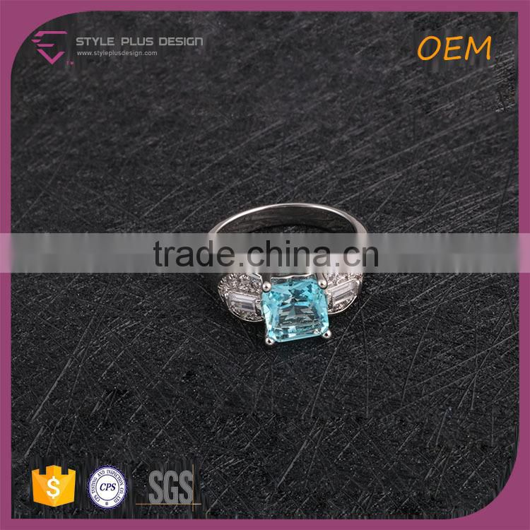 R63494K01 Best Selling 925 Silver Ring With Blue Sapphire diamond Stone Ring For Young Ladies
