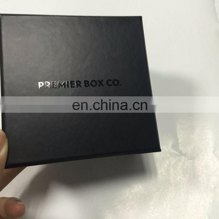 Nice design shiny logo black flip top gift box luxury wholesale