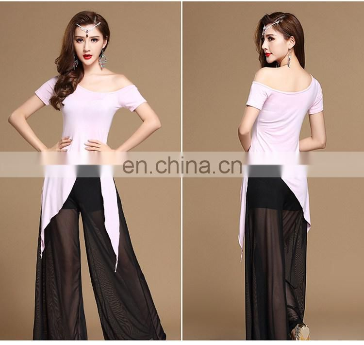 T-5176 Net cloth modal newest style lady belly dance top and pant suit