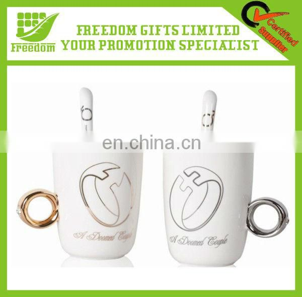 Couple Custom Made Logo Printed Ring Mug