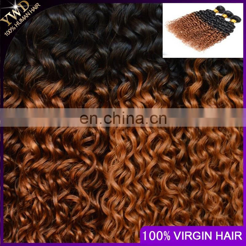 8A 3 bundles 1B 30 peruvian virgin hair ombre weave cheap ombre peruvian kinky curly virgin hair ombre hair extensions two tone
