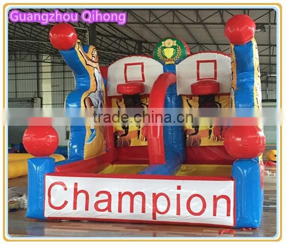 inflatable baskrtball game with bungee run, inflatable basketball hoop court, inflatable sports arena for sale