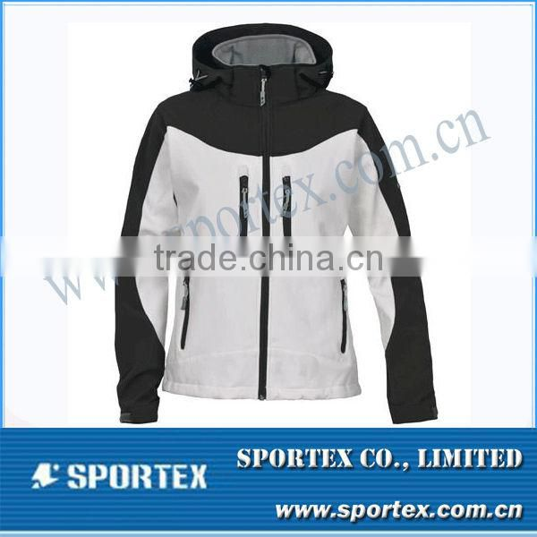 Vintage White/ Black Sporty Running Softshell Jacket Men MZ0073
