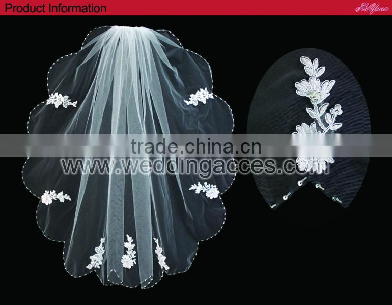 V1108W2-1 New design sequin and glass crystal bead edged with lace appliques wedding bridal veils