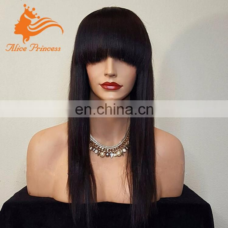 Glueless Lace Front Human Hair Wig Silky Straght Natural Indian Long Hair Wig With Bangs For Black Women