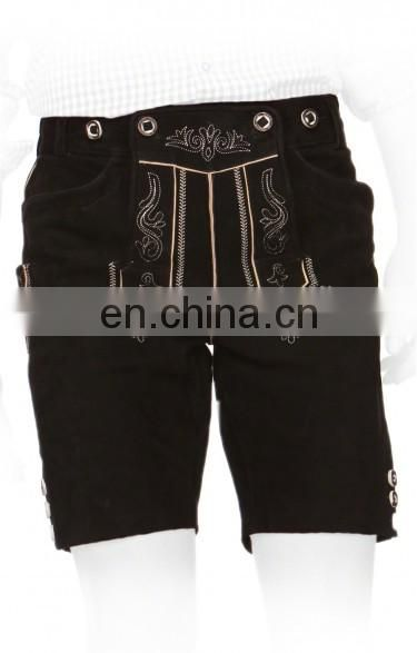German-Bavarian-Oktoberfest-Trachten-Short-Length-Lederhosen-Men's Leather Shorts Dark blck New design