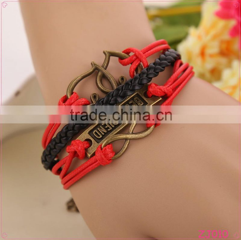 Fashion Accessories Jewelry Gift Retro Infinity Leather Weaving Red Leather Rope Bracelet For Women