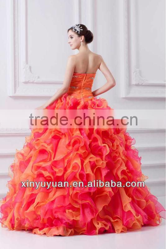 Latest Designer Colorful Orange Puff Sweetheart Ball Gown Beaded China Quinceanera Dress Prom Dress 07-205