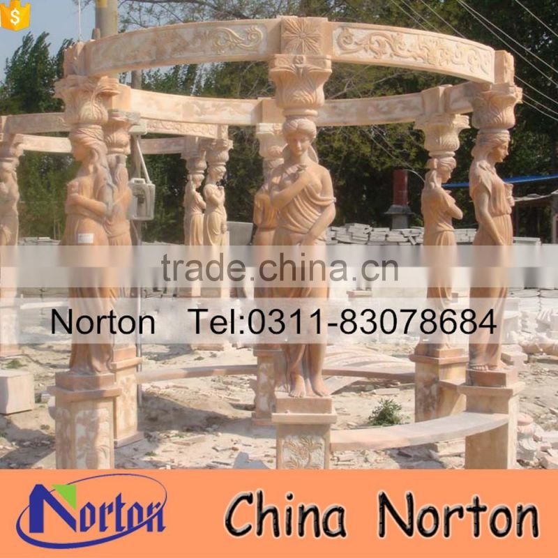 Carved woman statue metal roof natural stone garden gazebo NTMG-340A