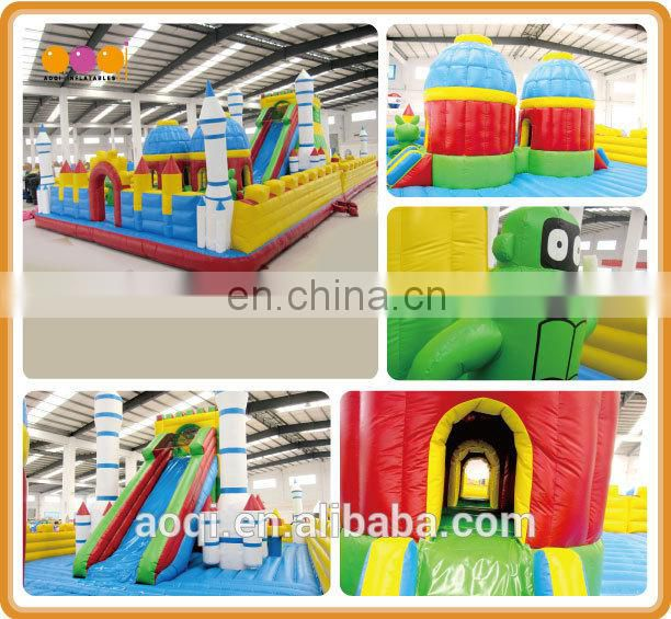 AOQI outdoor rocket fun city kids fun equipment inflatable fun city inflatable playground with free EN14960