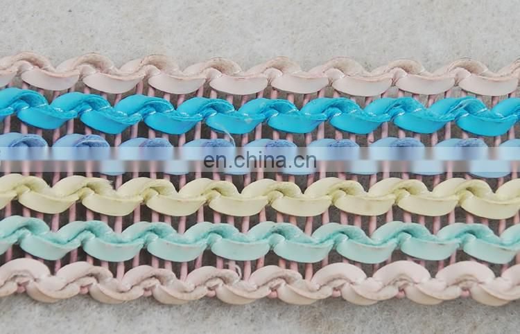 Fantastic colorway wave leather tape/ladder pu trims for accessories