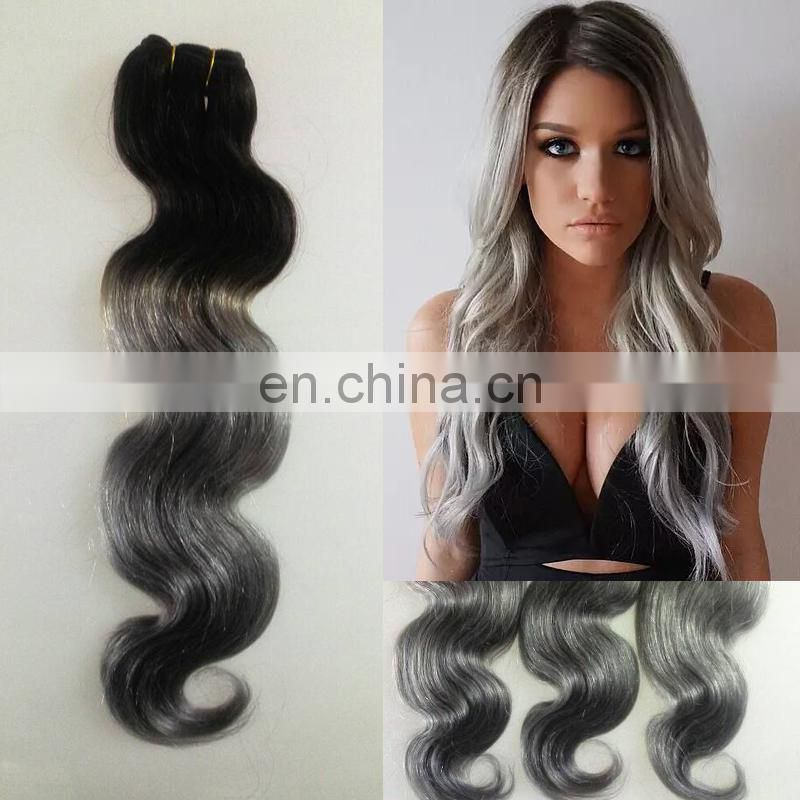 fx ombre hair extensions T1b Grey, two color ombre human hair weave bundles