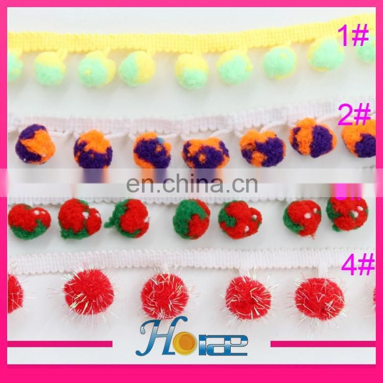 Fashion 2cm width colorful tassel fringe pom pom trim for clothing hea189