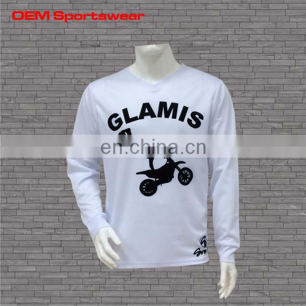 Dye sublimation custom white long sleeve t shirts