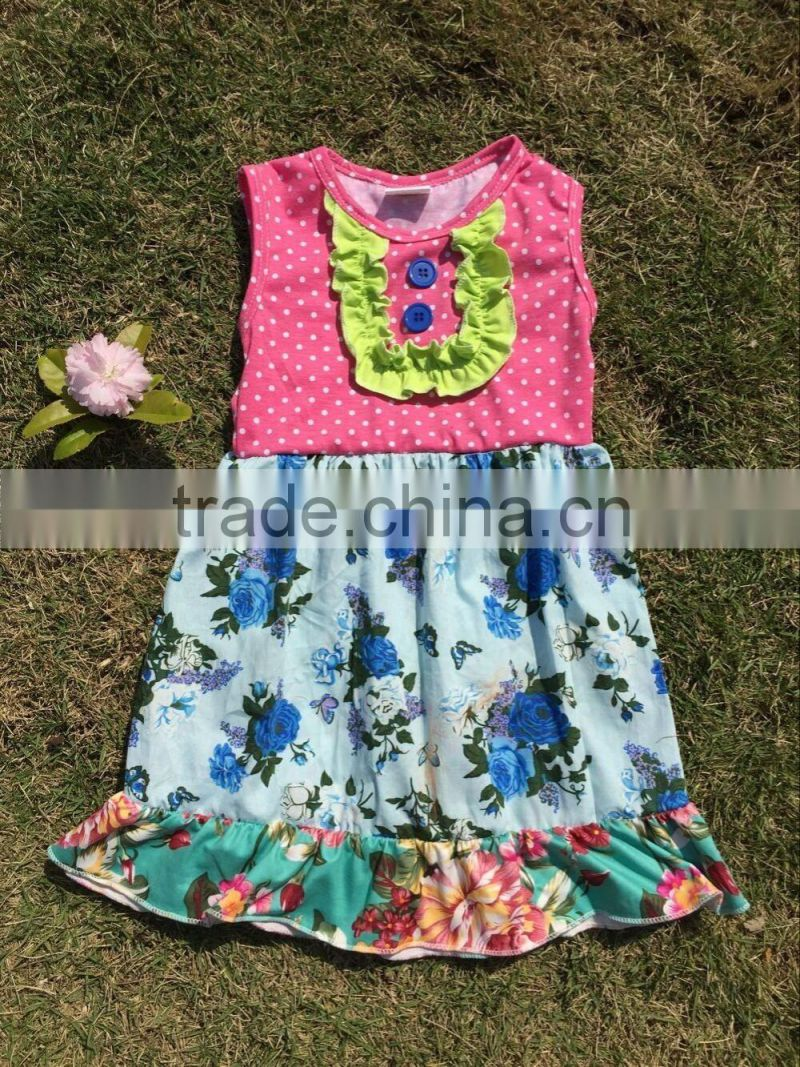 7bae29d9b kids fancy frocks designs bib slveeless flowers printing baby girls ...