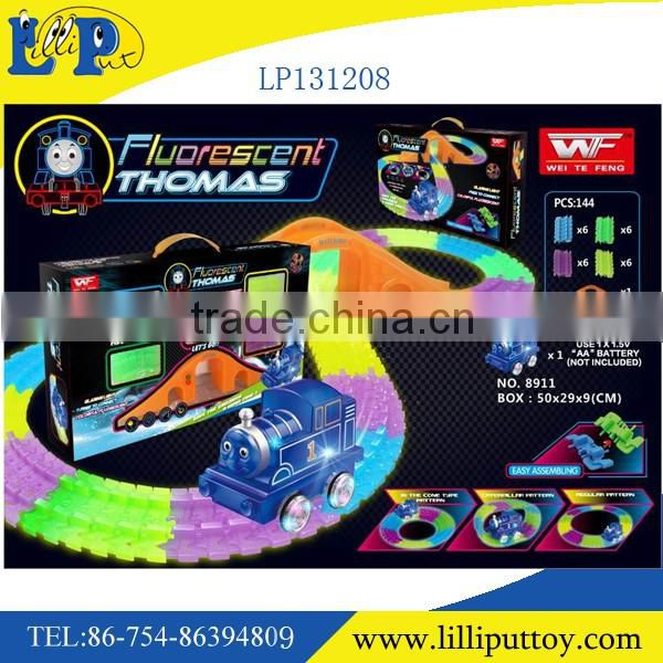 2016 new product B/O fluorescent rail car changeable night ligth rail car 73pcs with light