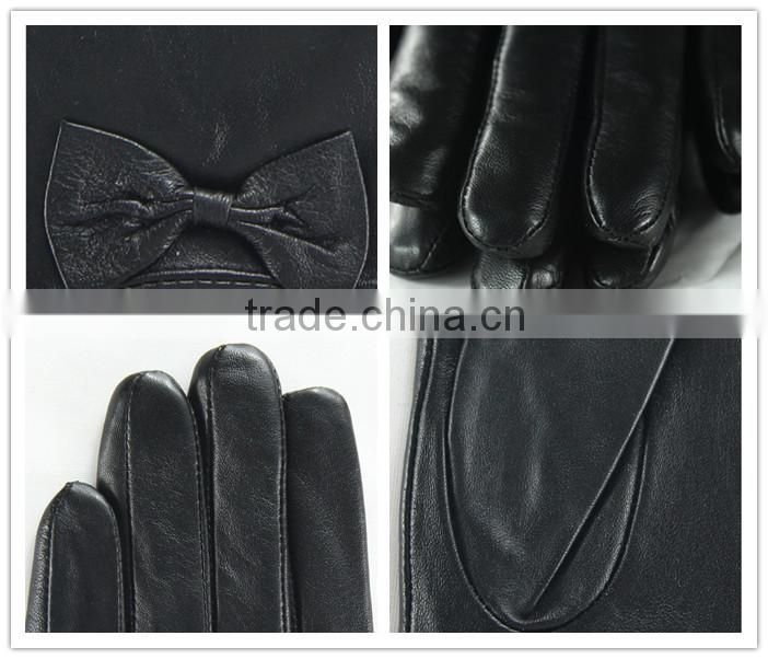 Fashion Women's Winter Warm Genuine Gloves Lambskin Leather Driving Soft Lining Gloves