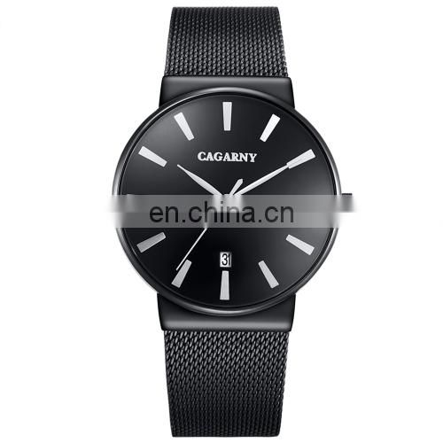 CAGARNY 6817 Living Waterproof Round Dial Quartz Movement Alloy Case Fashion Watch Quartz Watches with Steel Band