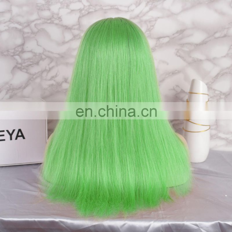 whosale price 2018 hot selling green color natural hairline full lace wig