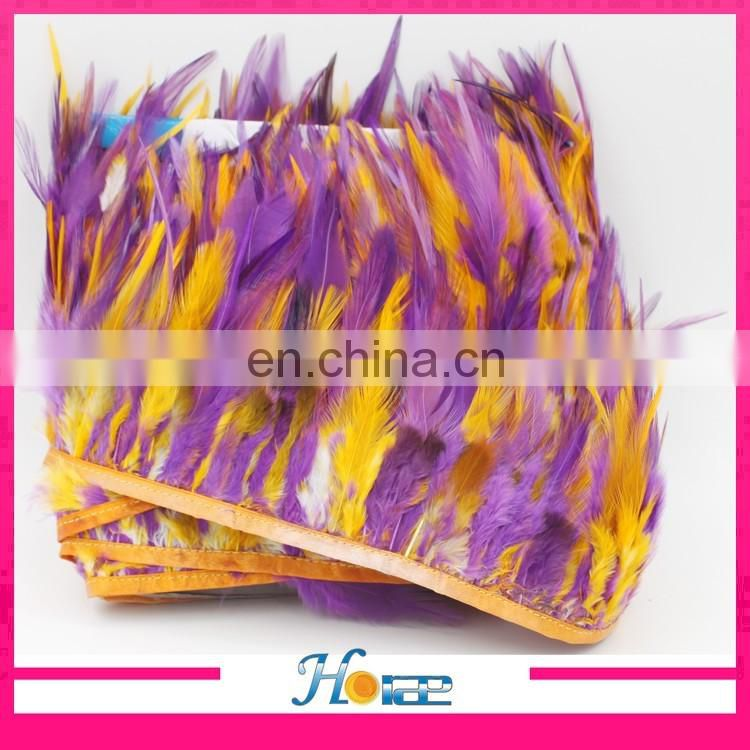 wholesale beautiful cheap feather trimming natural rooster feather fabric