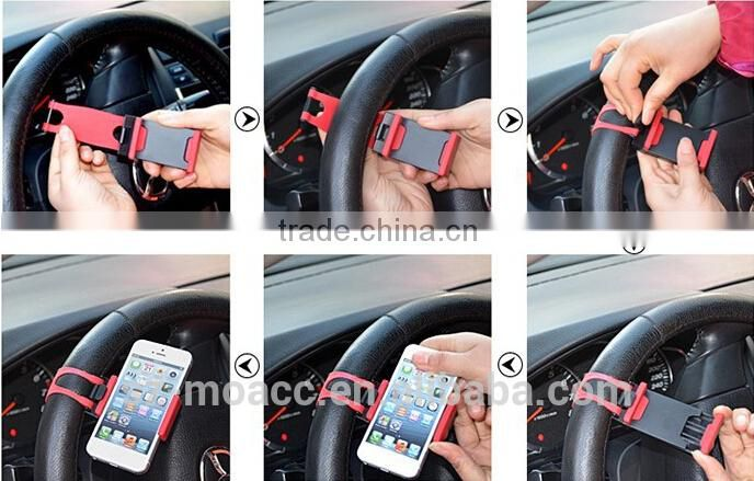 Clip Steering Wheel car mobile holder for iphone and samsung, GPS, MP4, etc.