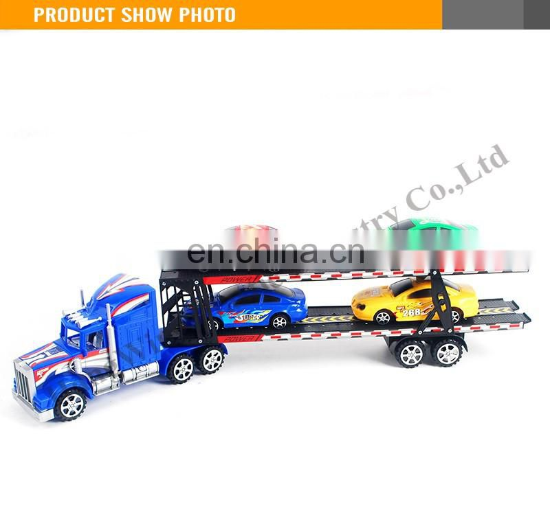 Hot Sale 58CM plastic Friction truck trailer with 4pcs free wheel car trailer truck toy