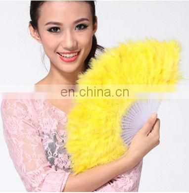Wholesale multy colors latest high quality feather performance belly dance fan for women P-9020#