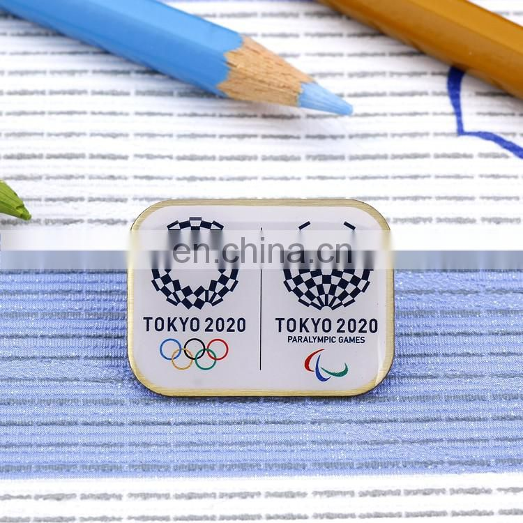 wholesale customized logo epoxy stickeer rectangle shape low price high quality badge