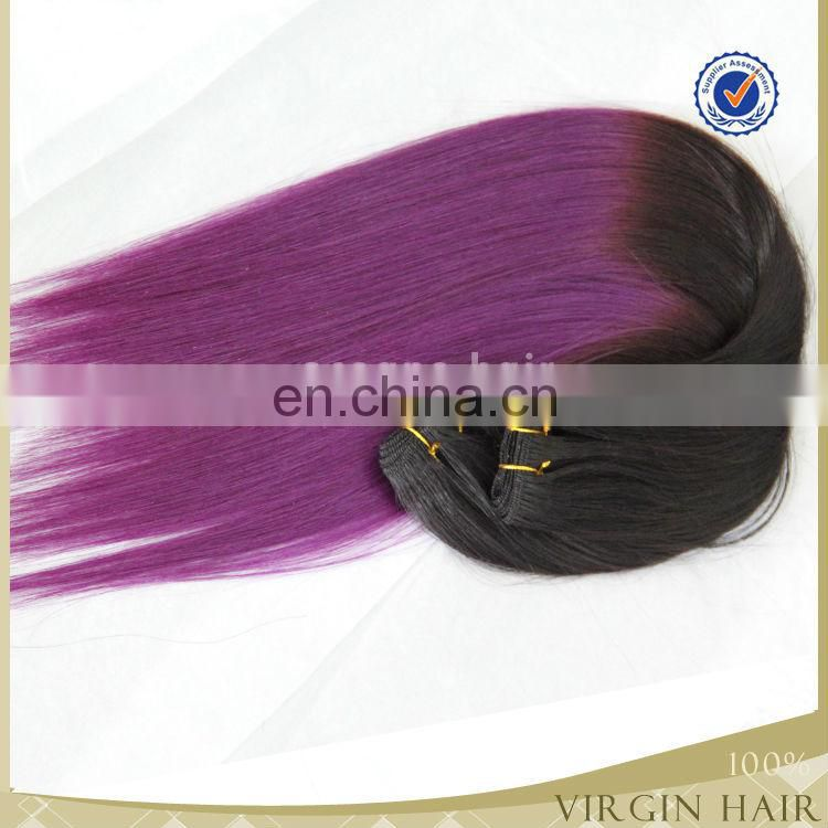 Top quality No tangle no shedding two tone ombre hair weave purple color human remy hair