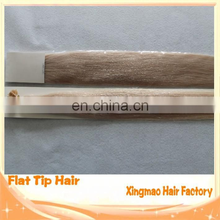 All Cuticle In The Same Direction Double Drawn Brazilian Remy Human Flat Tip Hair Extension Italian Keratin Glue Capsule Hair