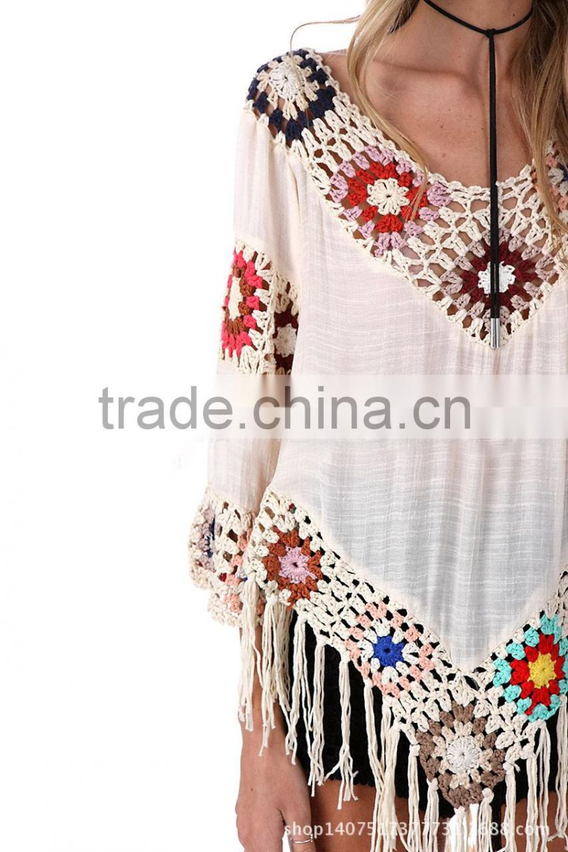 latest fancy crochet colourful flower adult beach kaftan chiffon cover ups beach ponchos