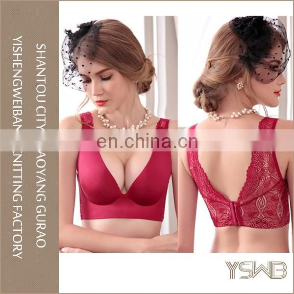 Plain wide strap deep v push up adjustable bra for women