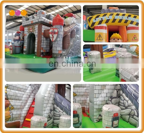 2016 AOQI newest design fortress inflatable combo jumping castle with slide for kids with free EN14960 certificate