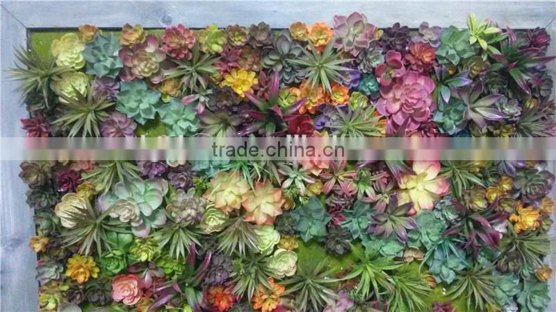 Home and outdoor decoration synthetic cheap artificial vertical green grass succulent wall E08 04C47