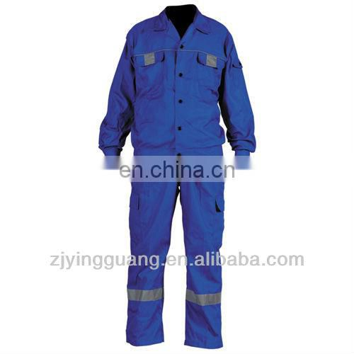 Blue Safety Work Coverall Made-in 100% Cotton Twill Fabric And Hi-vis Reflectve Tape