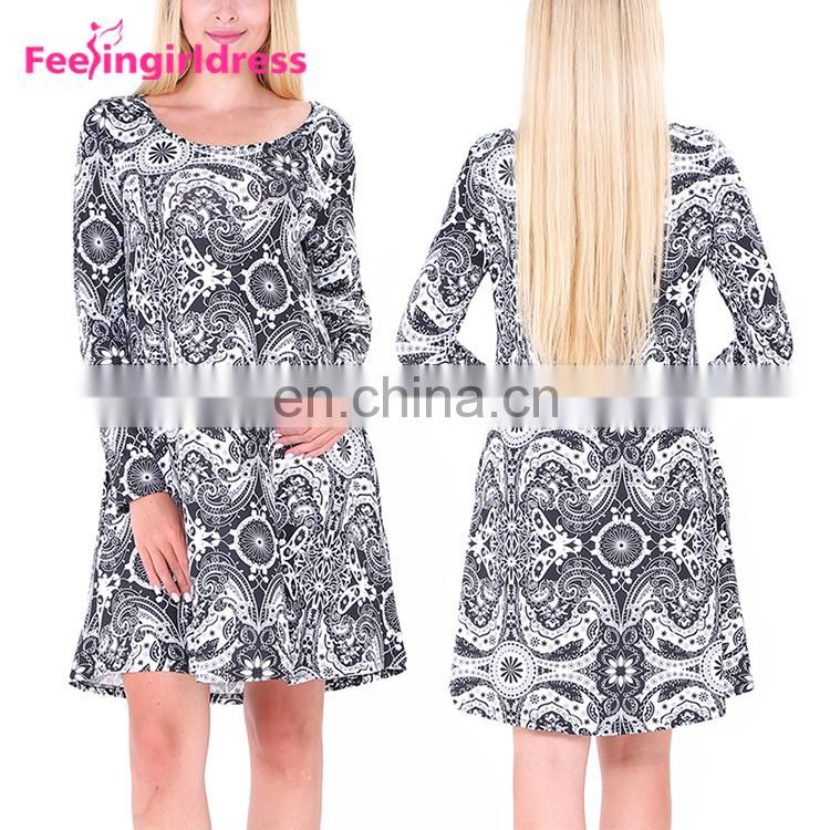 Free Samples Long Sleeve Print Floral Christmas Party Wear Christmas Women Dress
