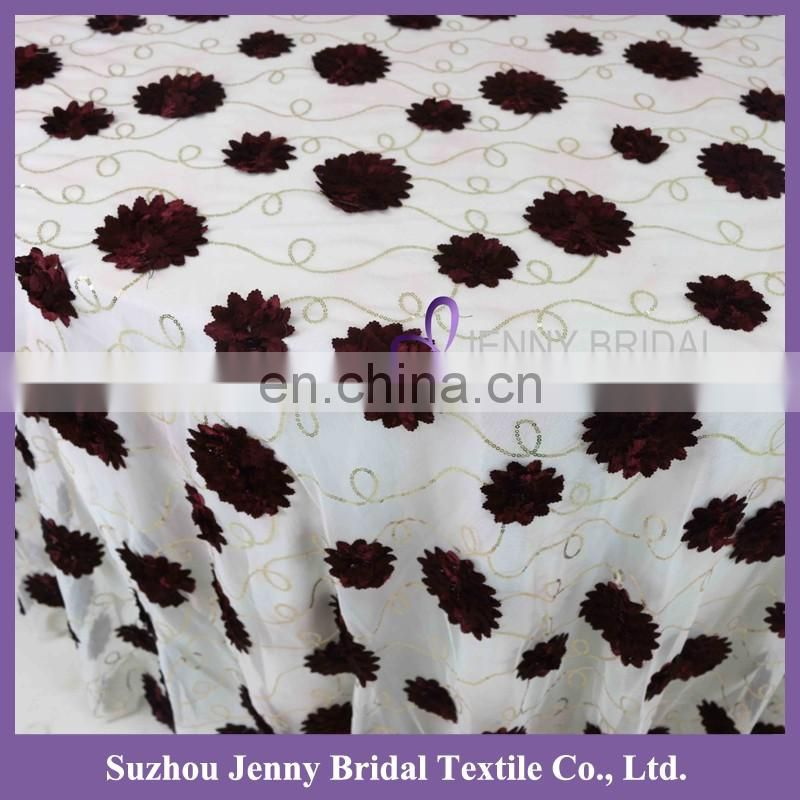 TC139A 2016 new 120 round christmas 3d flower sequin faric embroidered tablecloth