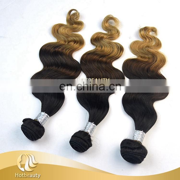 "Wholesale 3 Tone Color 1b#/ 4#/ 27# body wave peruvian hair 3 tone color ombre hair 14""-28"" available"