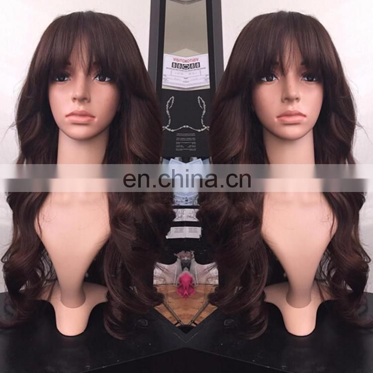 7A Grade Full Lace Human Hair Wig Loose Body Wave Style With Bangs Virign Brazilian Hair Color #2 Lace Wig For Women