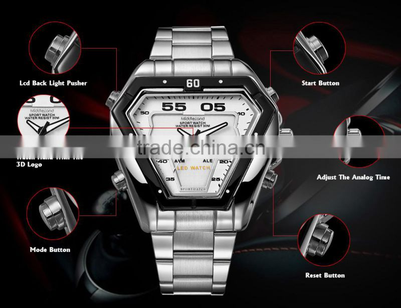 2015 japan movement double ca lendar all stainless steel watches waterproof