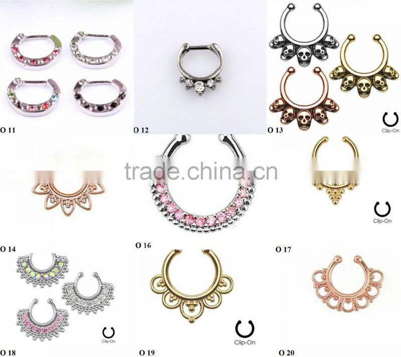 Newest Crystal Nose Ring Fake Septum Piercing Hanger Clip On Body Jewelry Nose Hoop O 18