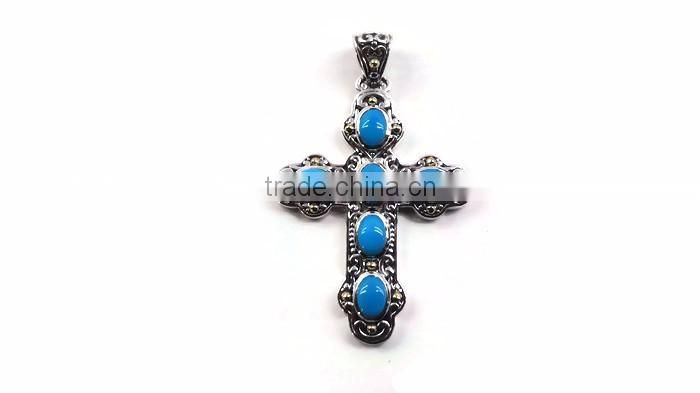 925 sterling silver rare american turquoise gemstone cross pendant with 18k gold accents