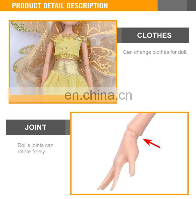 Yellow 11.5 '' Plastic Joints Movable Newest Beautiful Flying Fairy Doll