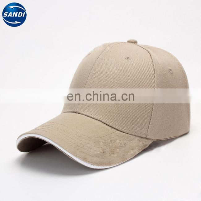 Promotional cotton sports baseball 6 panel cap