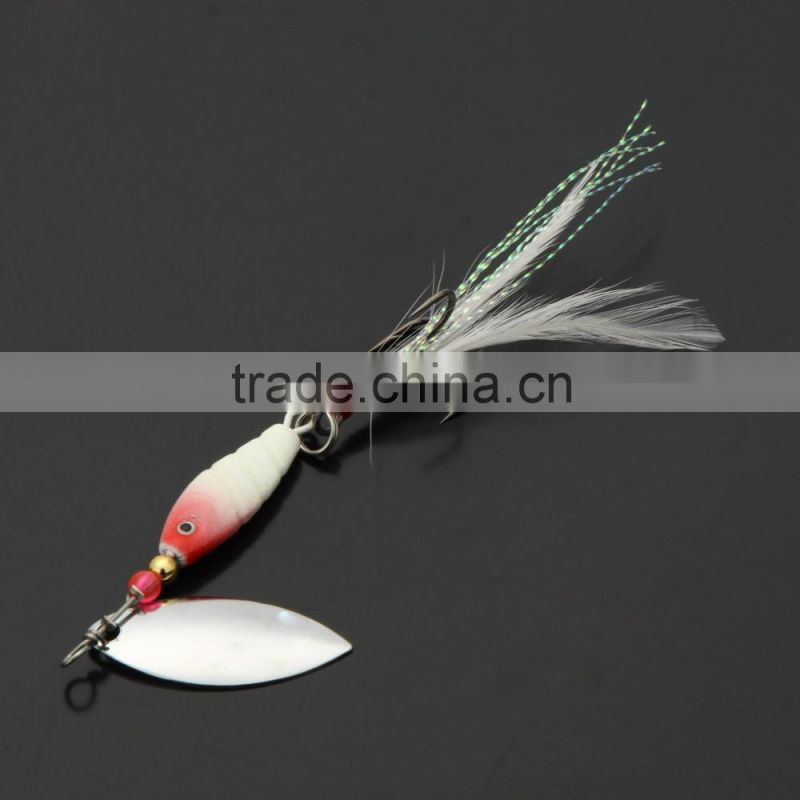 3Pcs 10g / 9.5cm Spoon Hard Fishing Lures Spinner Sequin Paillette Baits with Feather Hook Tackle