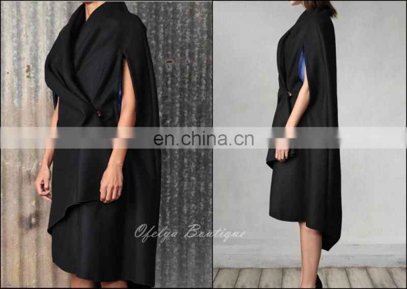 Cape-style Gabardine Coat cashmere Winter Women Original Designs Raglan Sleeve Black-Grey Cloak
